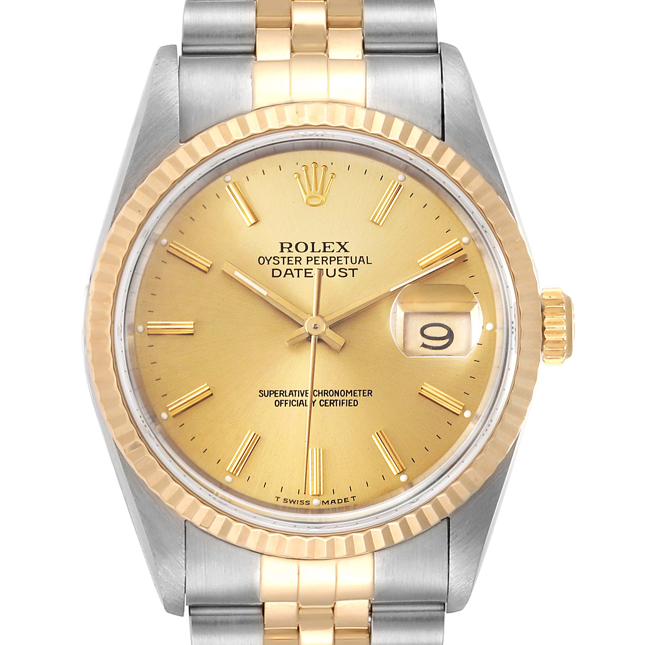 Rolex Datejust Steel 36mm Yellow Gold Fluted Bezel Mens Watch 16233