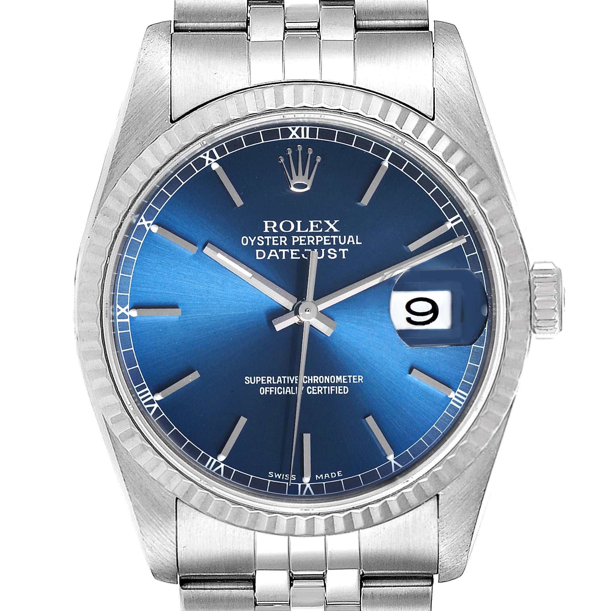 Rolex Datejust Steel White Gold Blue Dial Fluted Bezel Mens Watch 16234