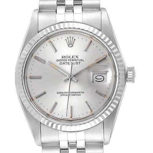 Photo of Rolex Datejust Steel White Gold Silver Dial Vintage Watch 16014 Box Papers