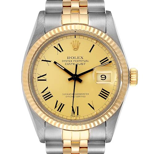Photo of Rolex Datejust Steel Yellow Gold Buckley Dial Mens Watch 16013 Box