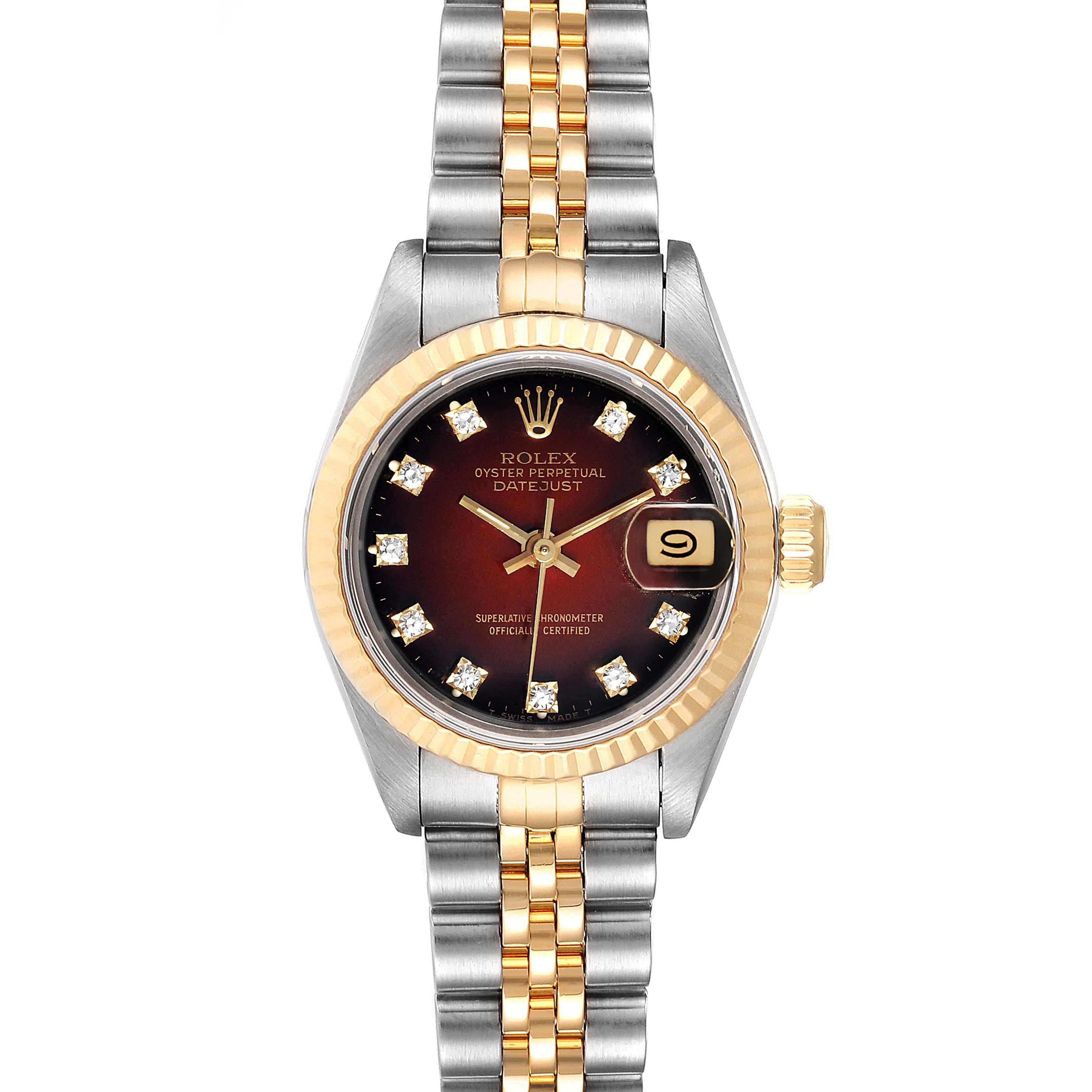 Rolex Datejust Steel Yellow Gold Vignette Diamond Dial Ladies Watch 69173