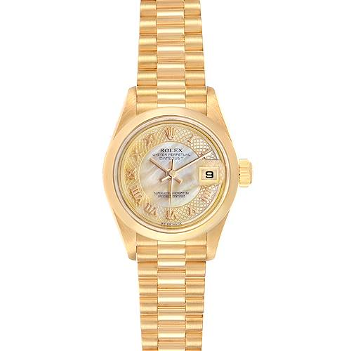 Photo of Rolex President Datejust Yellow Gold Decorated MOP Dial Ladies Watch 79168