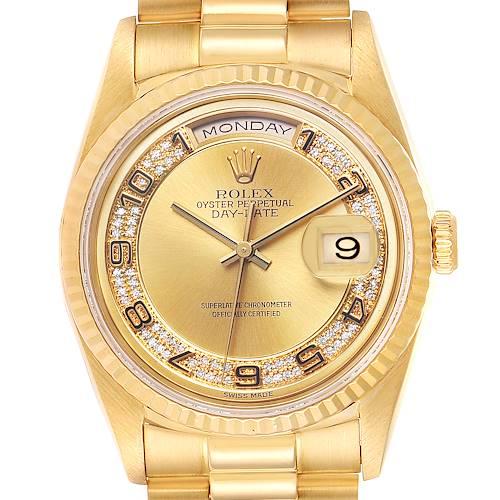 Photo of Rolex President Day-Date Yellow Gold Myriad Diamond Mens Watch 18238