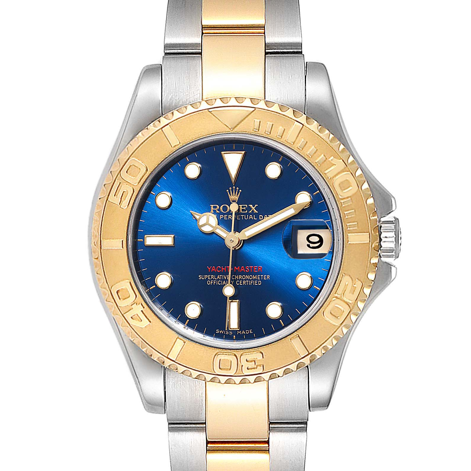 Rolex Yachtmaster 33 Midsize Steel Yellow Gold Unisex Watch 168623 SwissWatchExpo