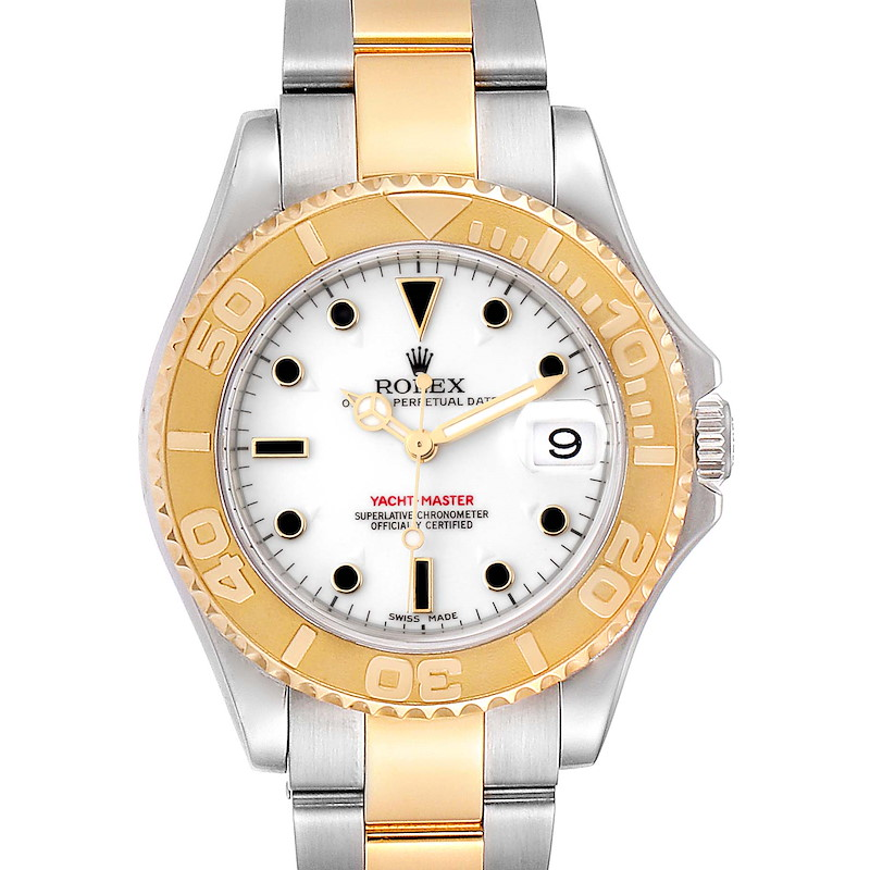 Rolex Yachtmaster 35 Midsize Steel Yellow Gold White Dial Watch 168623 SwissWatchExpo
