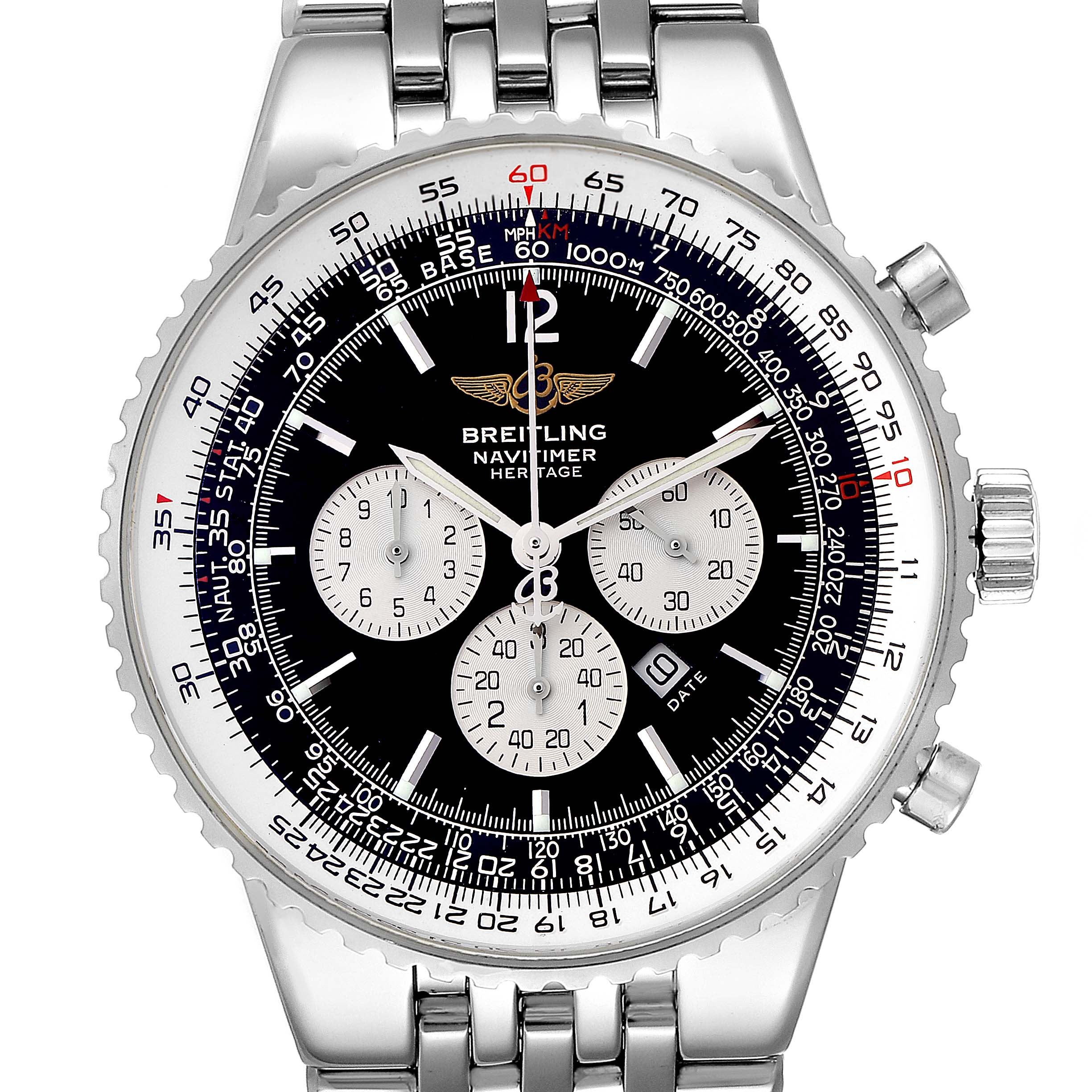 Breitling Navitimer Heritage Black Dial Automatic Mens Watch A35340 SwissWatchExpo