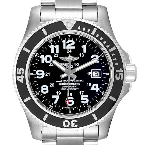 Photo of Breitling Superocean II 44 Black Dial Mens Watch A17392 Box Card