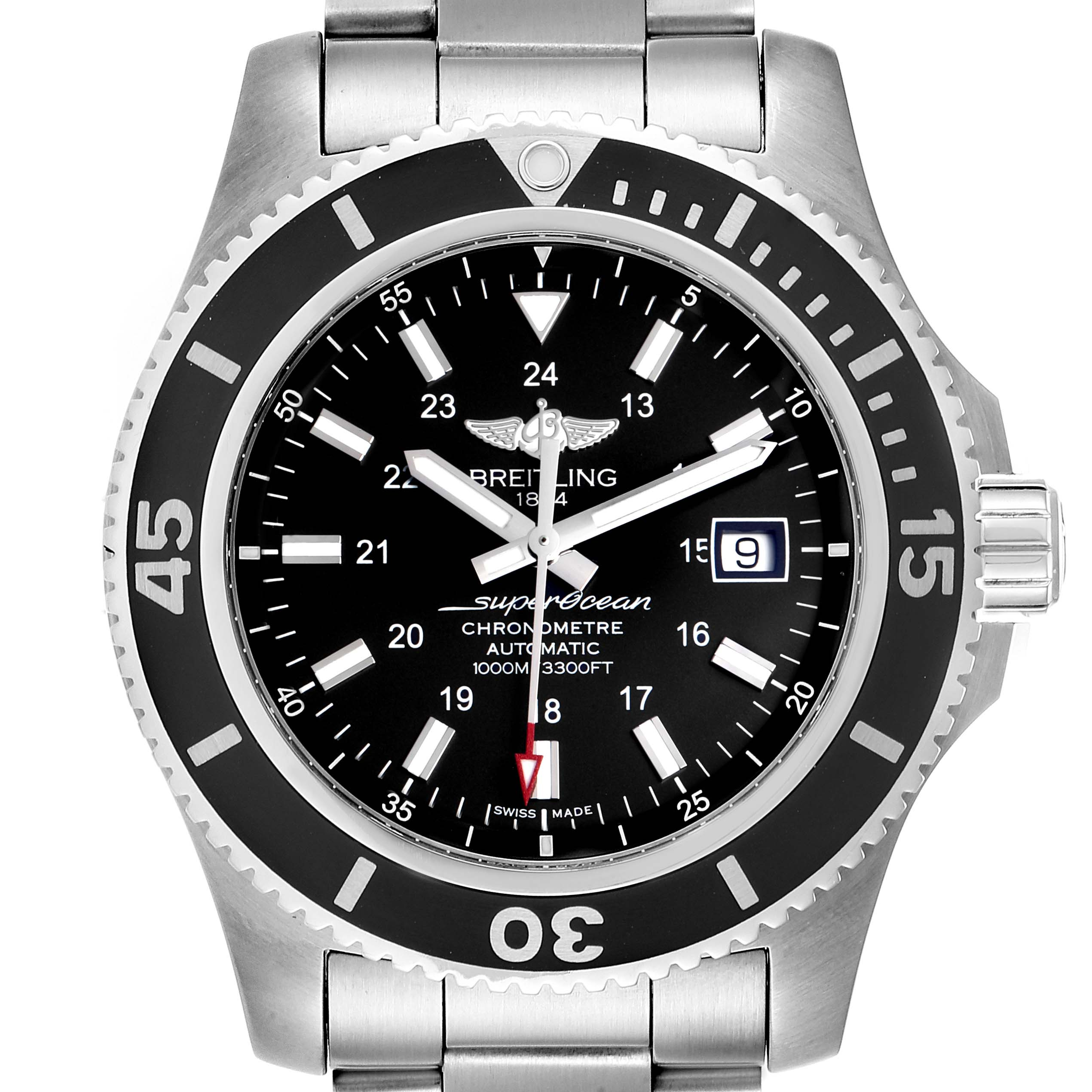 Breitling Superocean II 44 Black Dial Mens Watch A17392 Box Card