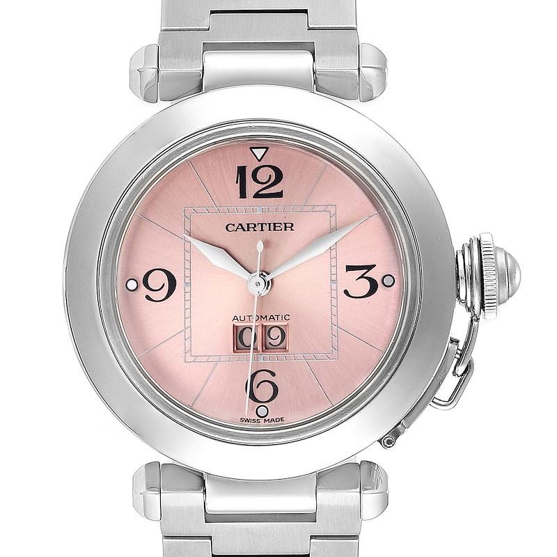 Cartier Pasha Big Date 35 Pink Dial Steel Ladies Watch W31058M7 Box Papers SwissWatchExpo