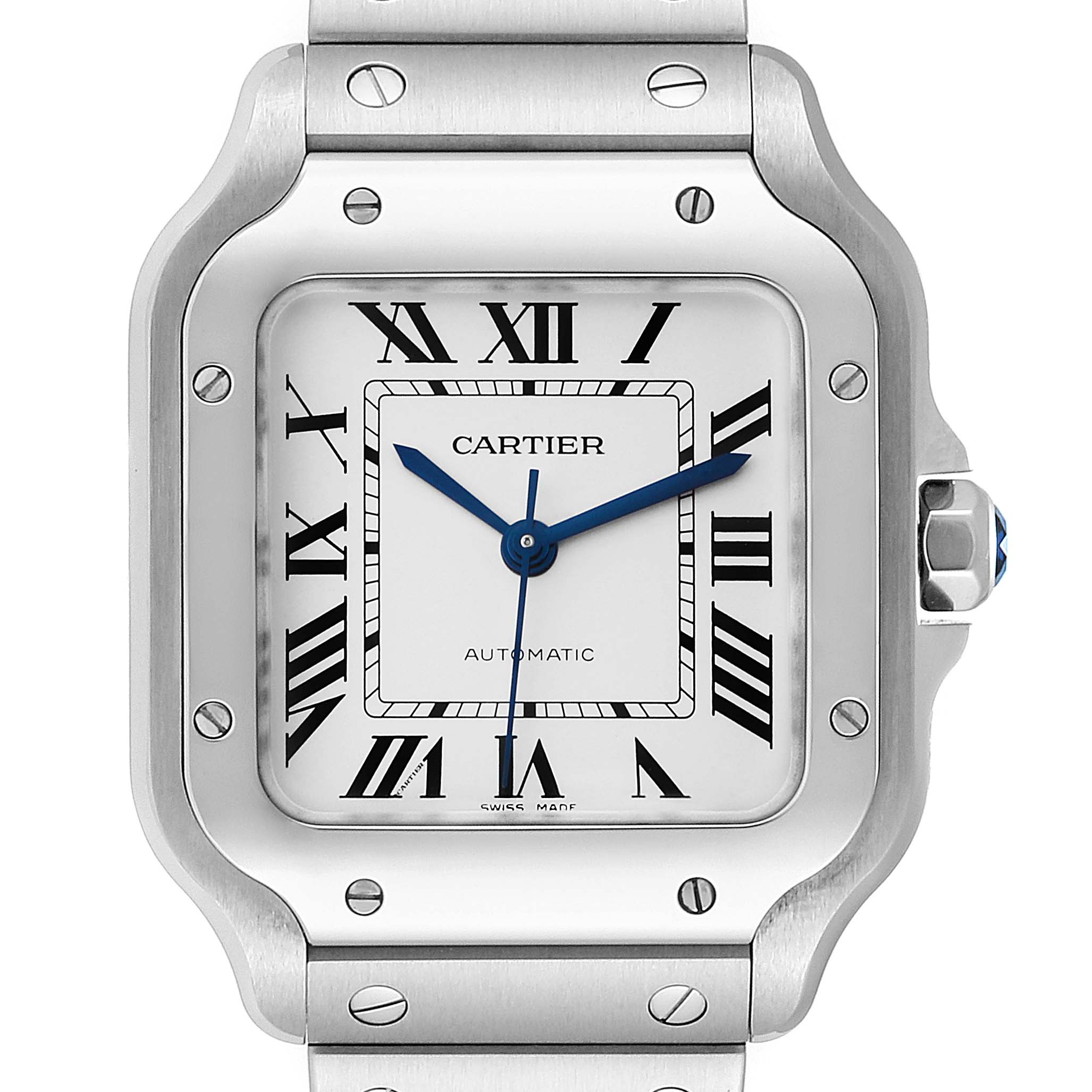 Cartier Santos Galbee Medium Steel Mens Watch WSSA0010 Unworn
