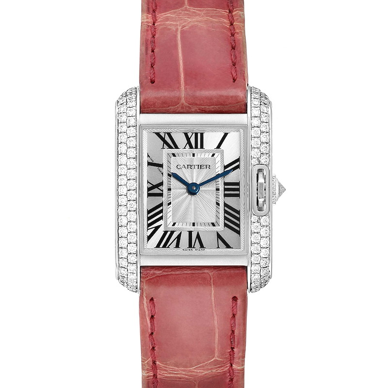 Cartier Tank Anglaise White Gold Diamond Ladies Watch WT100015 Box Papers SwissWatchExpo