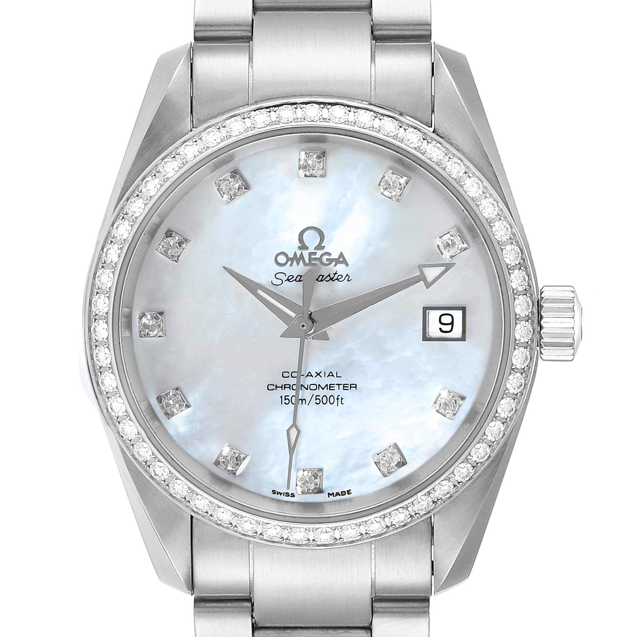 Omega Aqua Terra 36 Steel MOP Diamond Ladies Watch 2509.75.00 Box Card