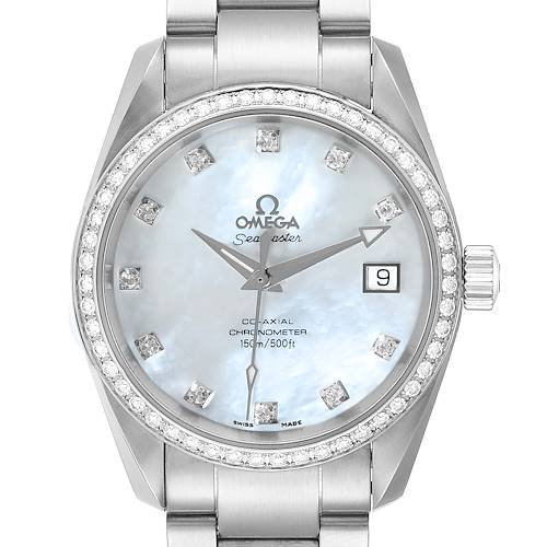 Photo of Omega Aqua Terra 36 Steel MOP Diamond Ladies Watch 2509.75.00 Box Card