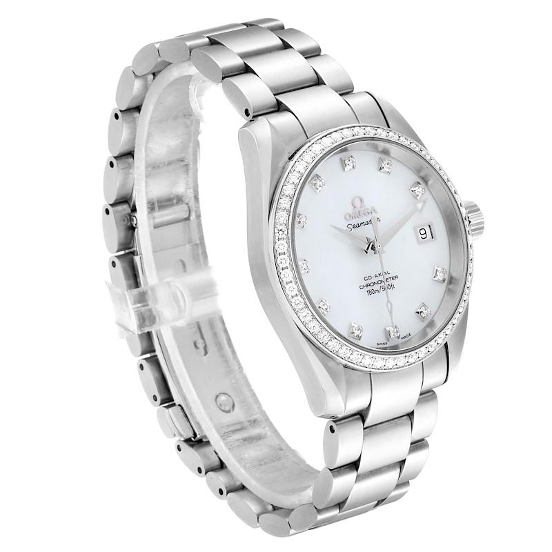 Omega Aqua Terra 36 Steel MOP Diamond Ladies Watch 2509.75.00 Box Card SwissWatchExpo
