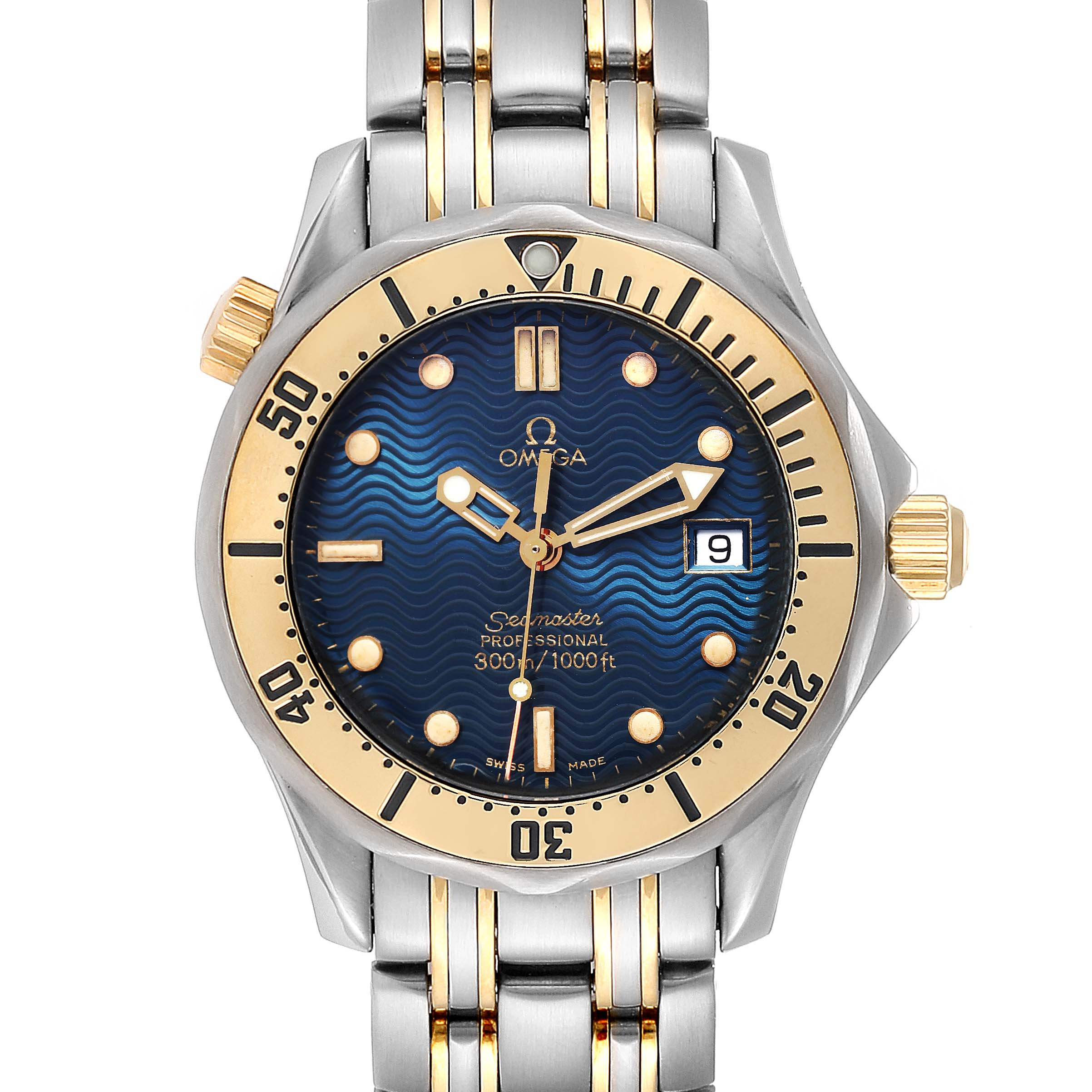 Omega Seamaster Midsize Blue Dial Steel Yellow Gold Mens Watch 2342.80.00 SwissWatchExpo