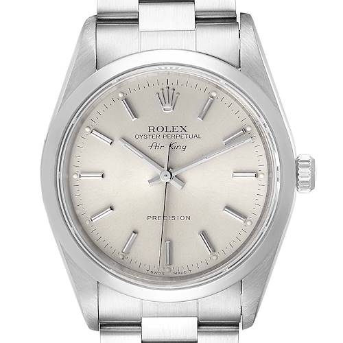 Photo of Rolex Air King 34mm Silver Dial Smooth Bezel Steel Mens Watch 14000