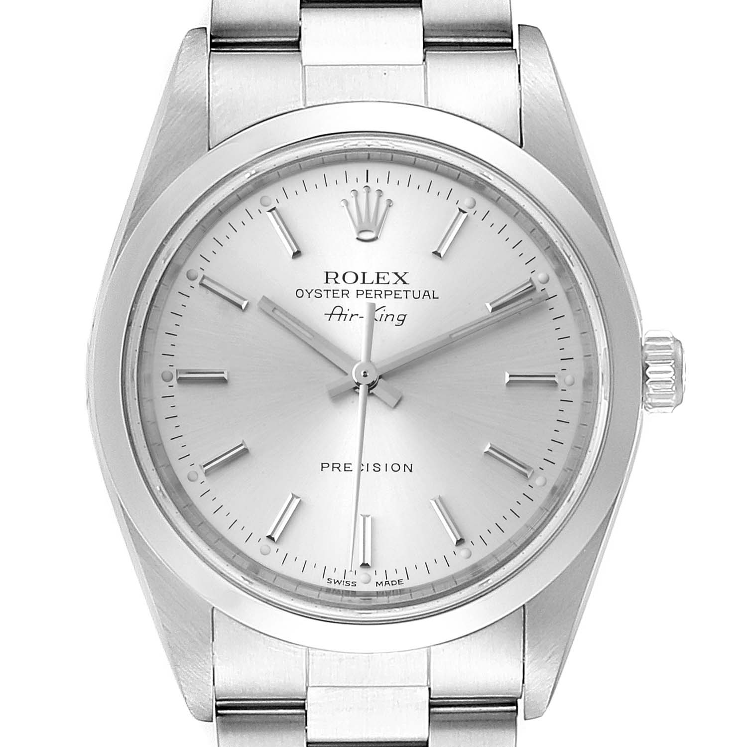 Rolex Air King 34mm Silver Dial Smooth Bezel Steel Mens Watch 14000