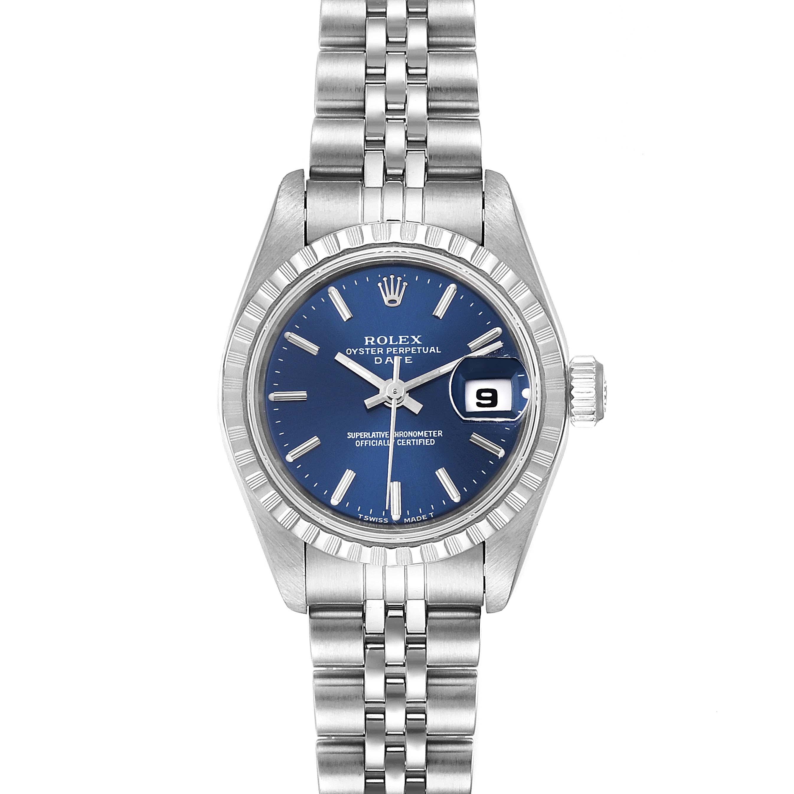 Rolex Date Blue Dial Jubilee Bracelet Steel Ladies Watch 69240 Box Papers