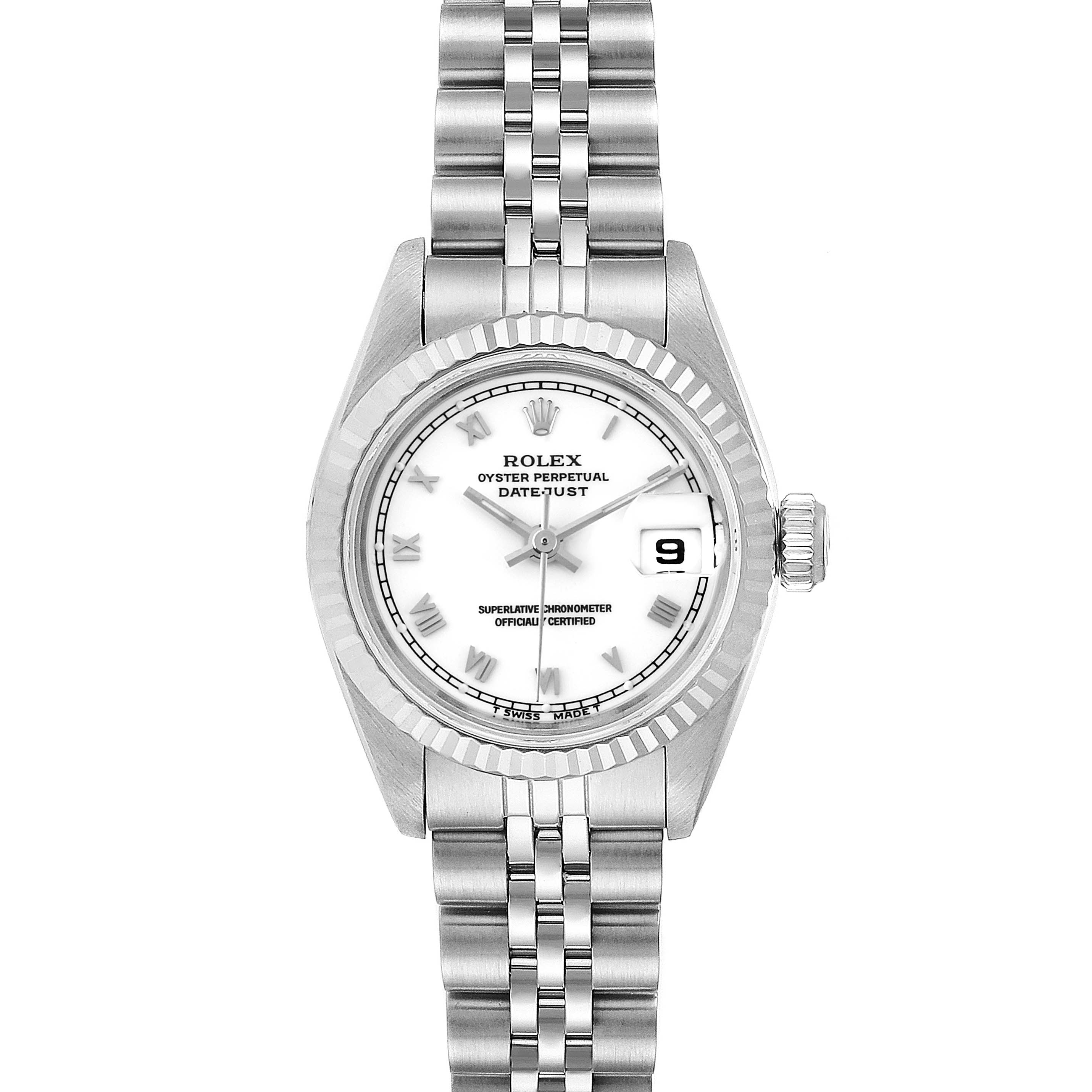 Photo of Rolex Datejust 26 Steel White Gold Roman Dial Ladies Watch 69174
