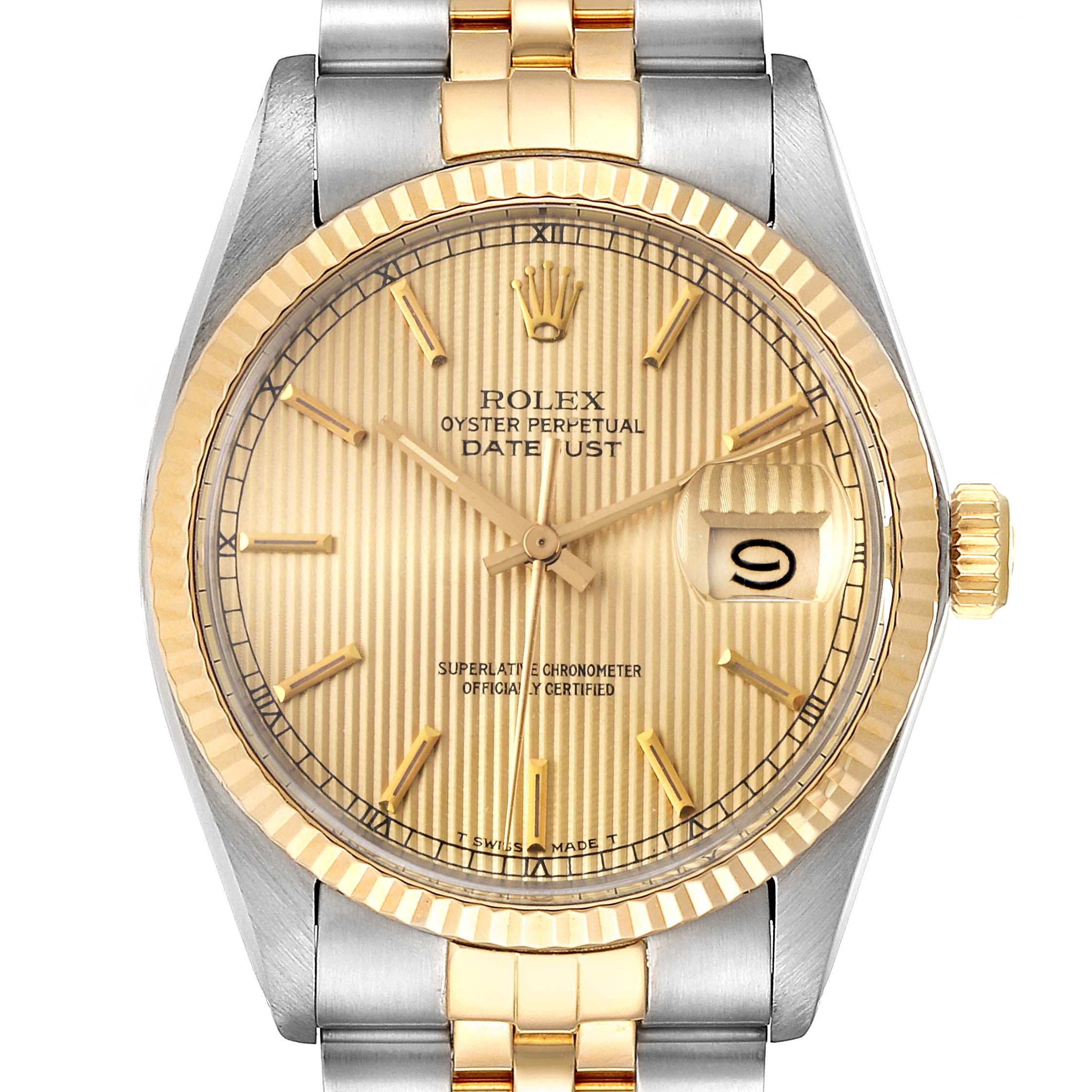 Rolex Datejust 36 Steel Yellow Gold Tapestry Dial Vintage Mens Watch 16013