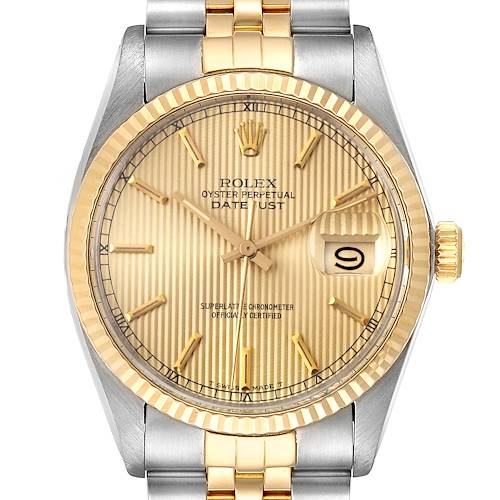 Photo of Rolex Datejust 36 Steel Yellow Gold Tapestry Dial Vintage Mens Watch 16013