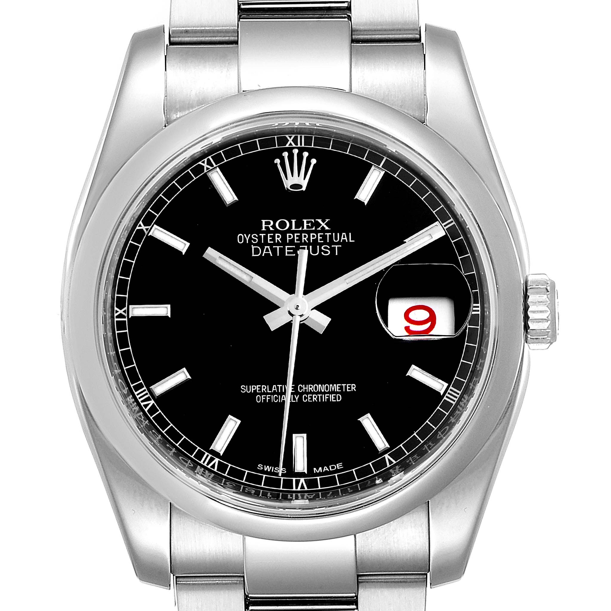 Rolex Datejust Black Baton Dial Steel Mens Watch 116200 Box Card