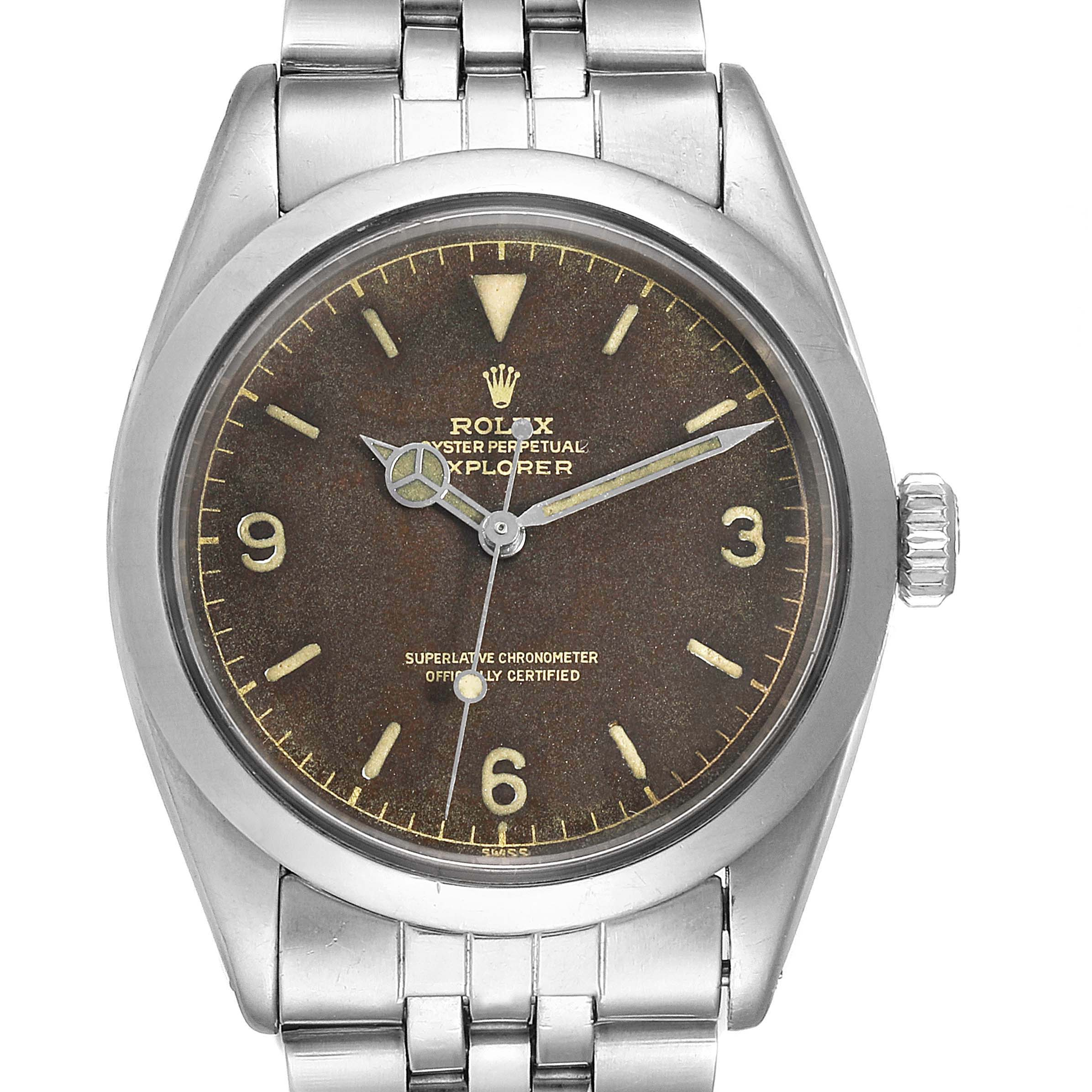 Rolex Explorer Chapter Ring Exclamation Point Tropical Vintage Watch 1016