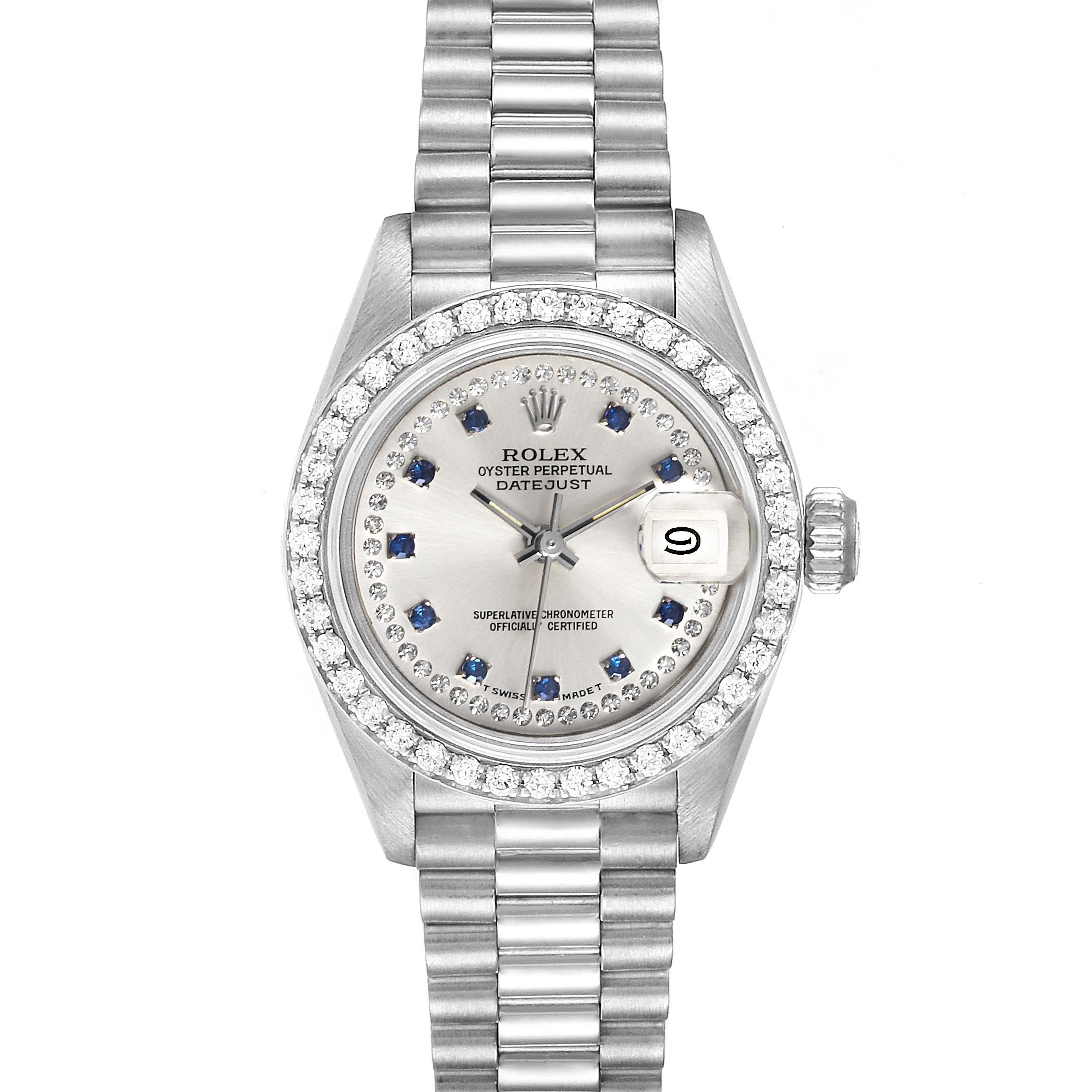 Rolex President Platinum Diamond Sapphire Ladies Watch 69136 Box Papers
