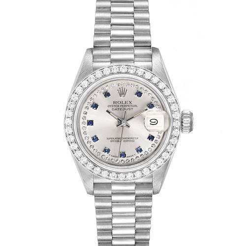 Photo of Rolex President Platinum Diamond Sapphire Ladies Watch 69136 Box Papers