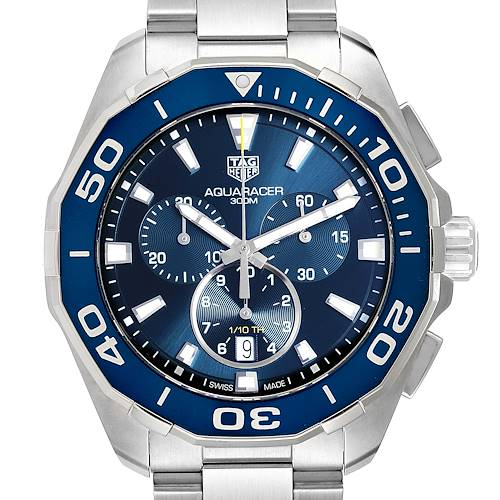 Photo of Tag Heuer Aquaracer Blue Dial Chronograph Steel Mens Watch CAY111B