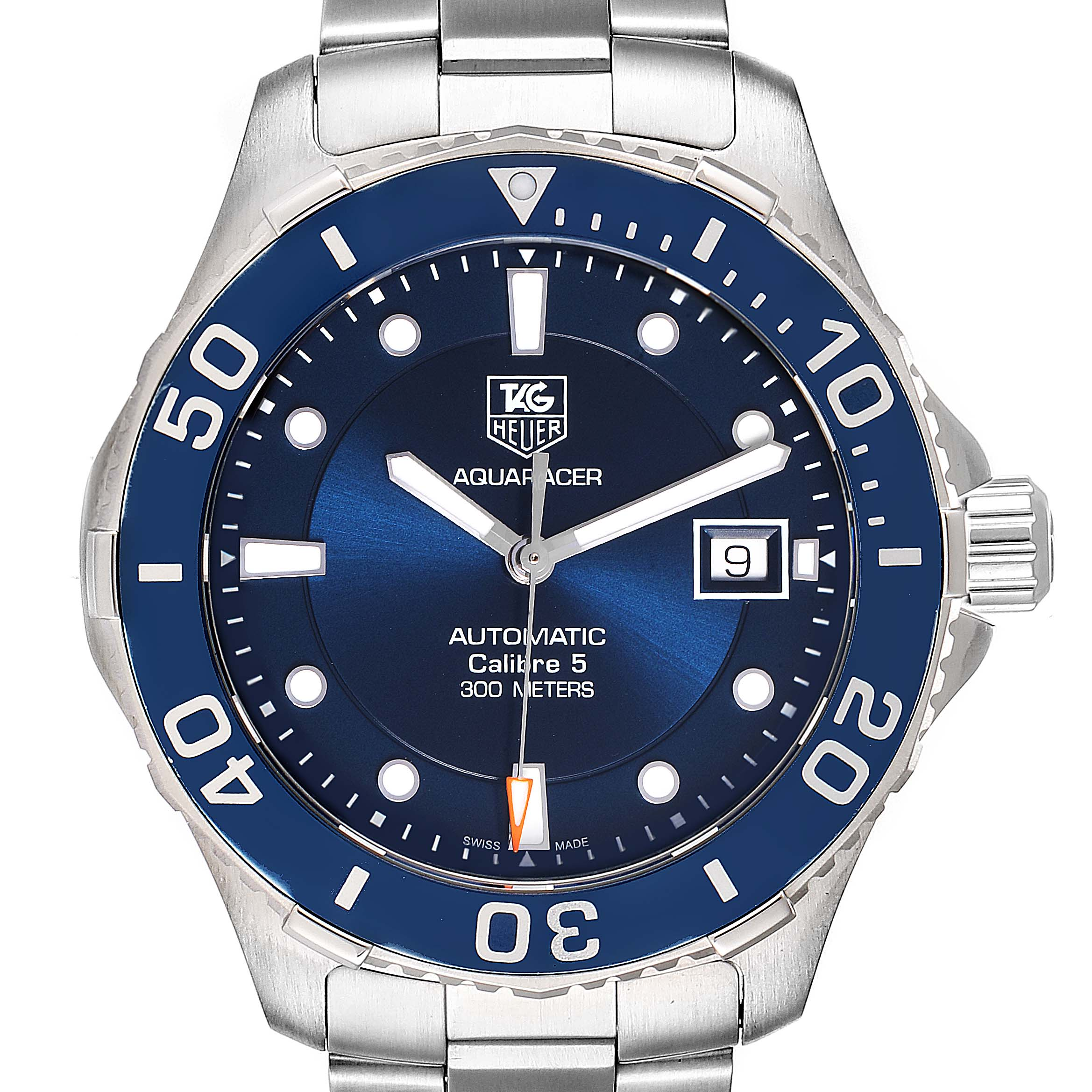 Photo of Tag Heuer Aquaracer Calibre 5 500M Blue Dial Steel Mens Watch WAN2111