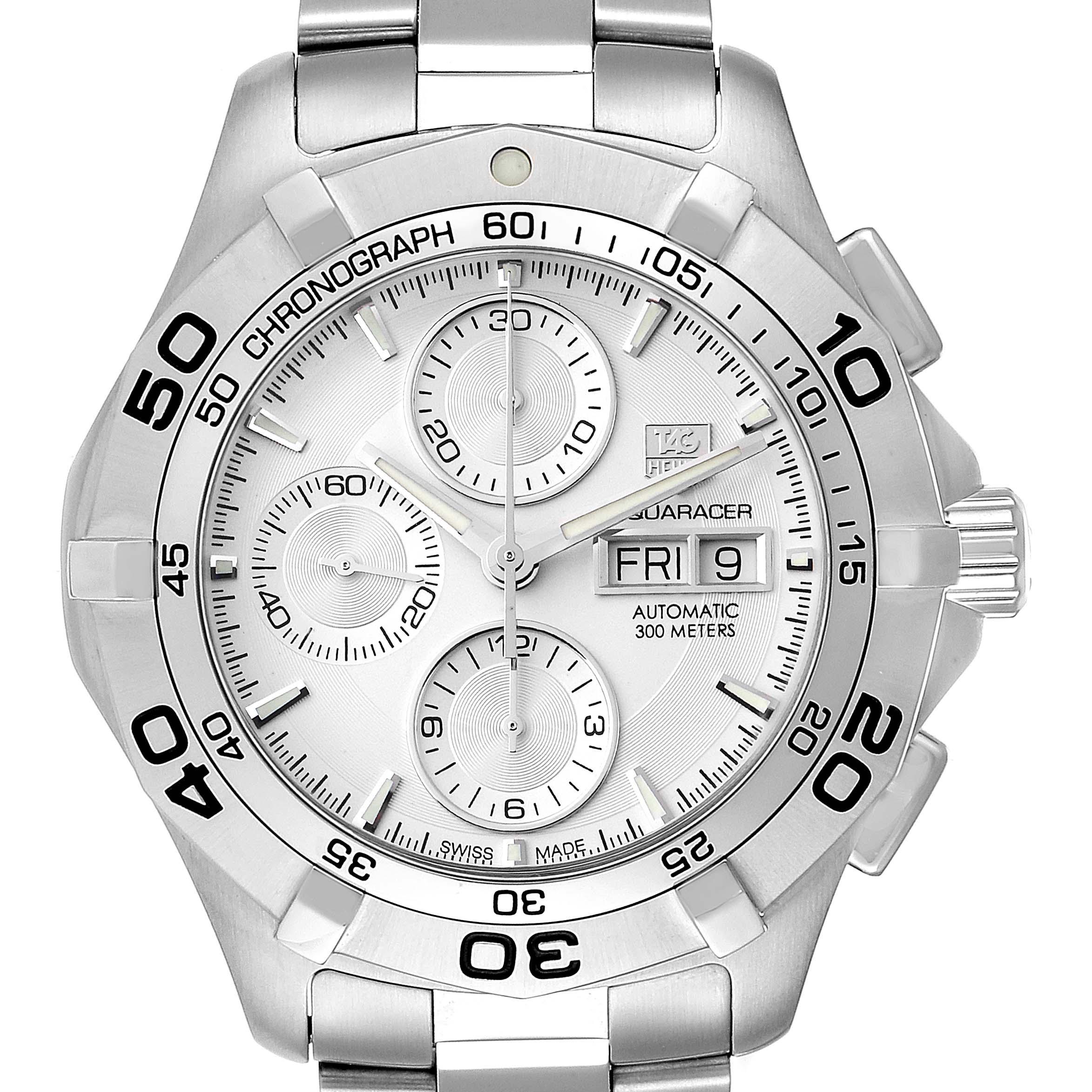 Photo of Tag Heuer Aquaracer Silver Dial Chronograph Mens Watch CAF2011