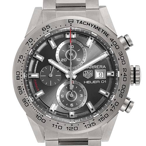 Photo of Tag Heuer Carrera Titanium Chronograph Mens Watch CAR208Z Box Card