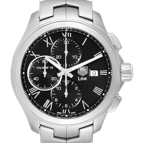 Photo of TAG Heuer Link Steel Black Dial Chronograph Mens Watch CAT2012 Box Card