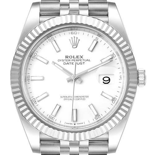 Photo of Rolex Datejust 41 Steel White Gold Jubilee Bracelet Watch 126334 Box Card