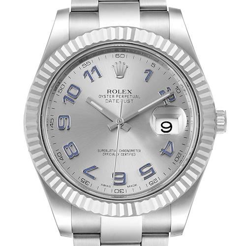 Photo of Rolex Datejust II 41mm Steel White Gold Blue Numerals Watch 116334 Box Card
