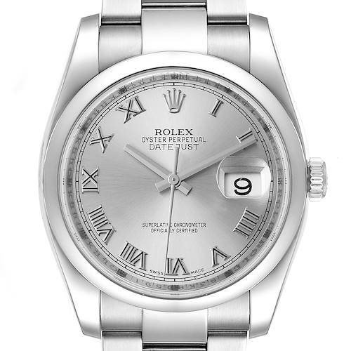 Photo of Rolex Datejust Silver Dial Stainless Steel Mens Watch 116200 Box Papers
