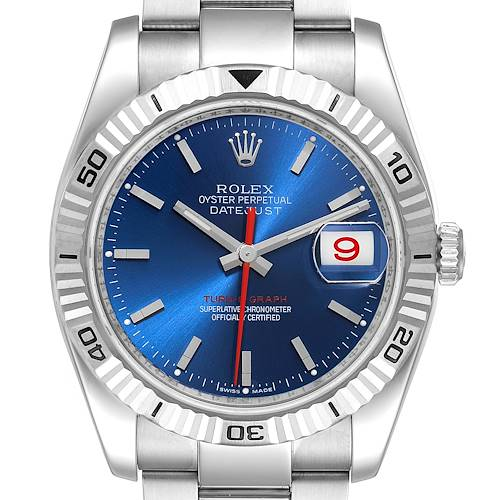 Photo of Rolex Datejust Turnograph Blue Dial Steel Mens Watch 116264 Box Card