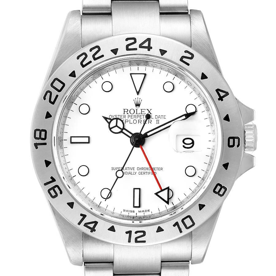Rolex Explorer II 40mm White Dial Steel Mens Watch 16570 SwissWatchExpo