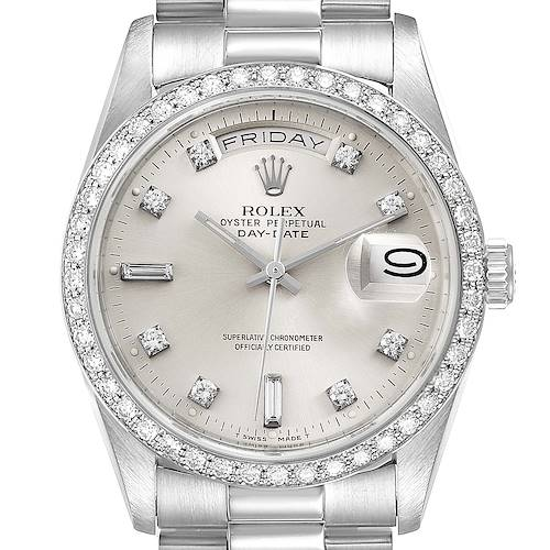 Photo of Rolex President Day-Date Silver Dial Platinum Diamond Mens Watch 18346