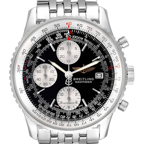 Photo of Breitling Navitimer II Black Dial Steel Mens Watch A13322 Box Papers