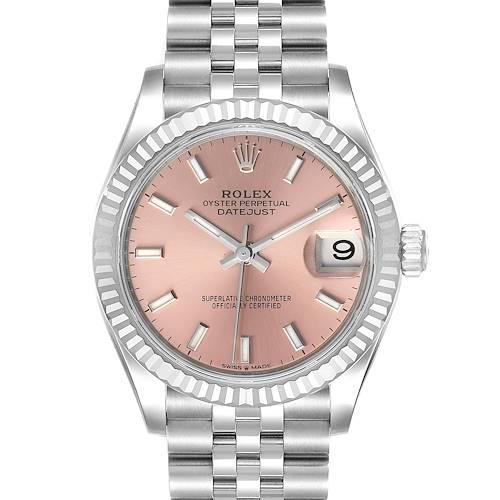 Photo of Rolex Datejust Midsize 31 Steel White Gold Pink Dial Watch 278274 Unworn