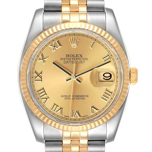 Photo of Rolex Datejust Steel Yellow Gold Champagne Dial Mens Watch 116233 Box Card