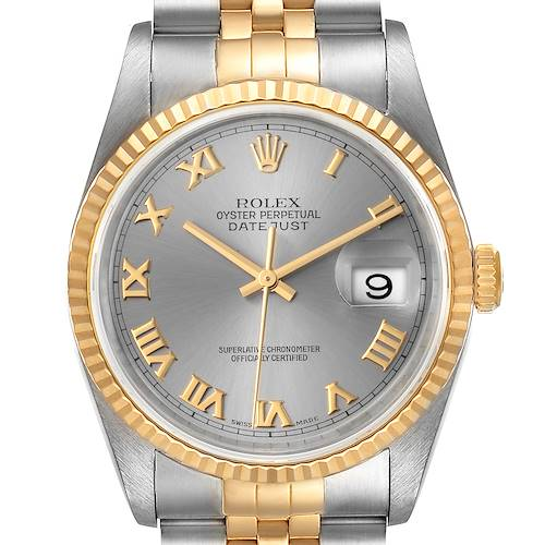 Photo of Rolex Datejust Steel Yellow Gold Slate Roman Dial Watch 16233 Box Papers