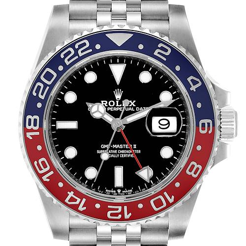 Photo of Rolex GMT Master II Pepsi Bezel Jubilee Steel Mens Watch 126710 Box Card