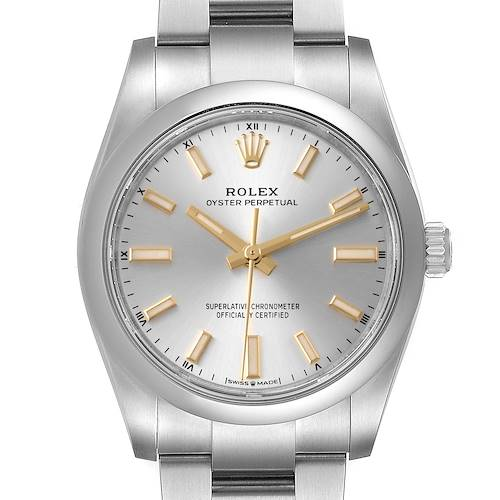 Photo of Rolex Oyster Perpetual 34mm Silver Dial Steel Mens Watch 124200 Box Card