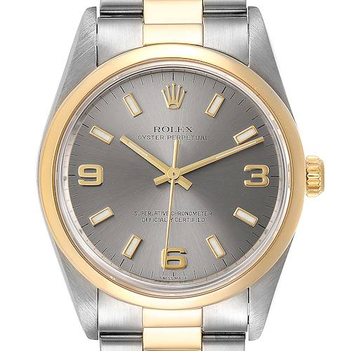 Photo of Rolex Oyster Perpetual Domed Bezel Steel Yellow Gold Watch 14203 Box Papers
