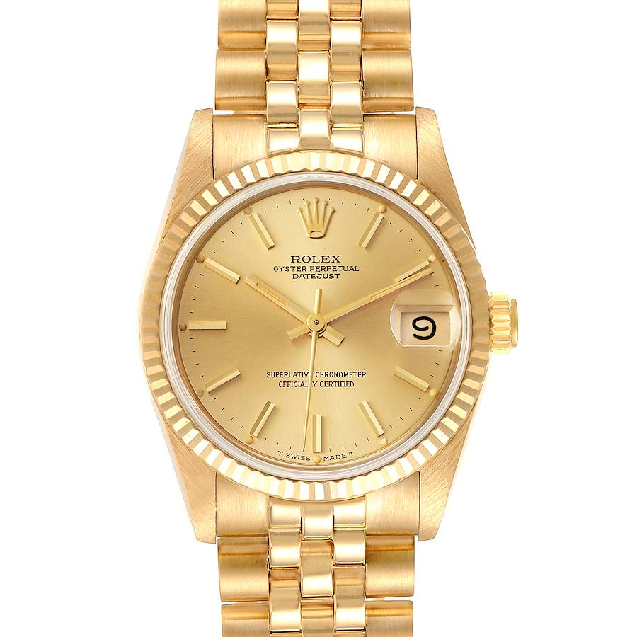 Rolex President Datejust 31mm Midsize Yellow Gold Ladies Watch 68278 SwissWatchExpo