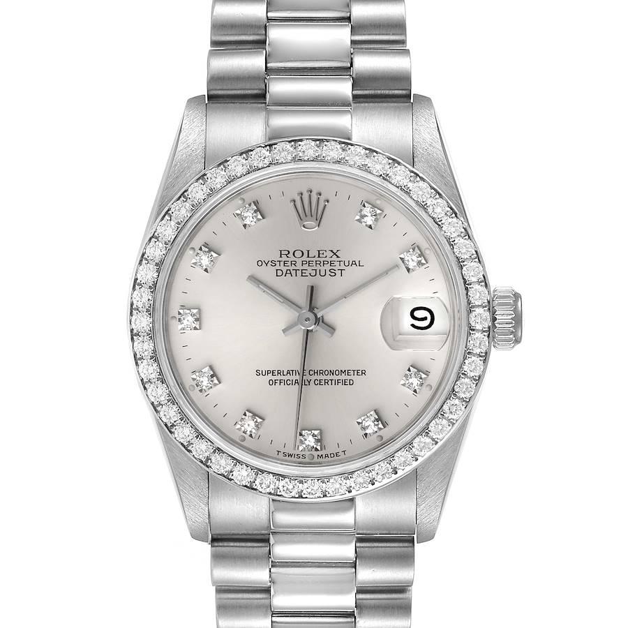 Rolex President Datejust Midsize Platinum Diamond Ladies Watch 68286 SwissWatchExpo