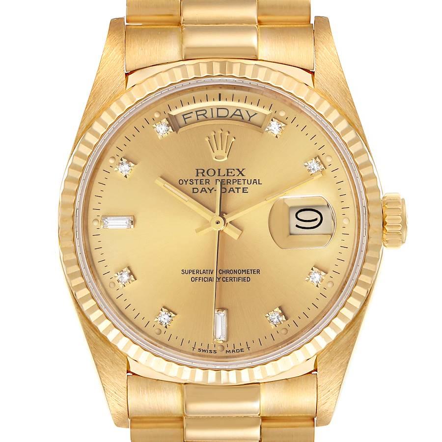 Rolex President Day-Date 18k Yellow Gold Diamond Mens Watch 18038 SwissWatchExpo